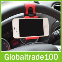 Cheap Cheap Sale! Hot Universal Stand Steering Wheel Mount Car Holder for iPhone Galaxy S4 S5 Mobile Phone Holders Cellphone Wholesale 100pcs DHL