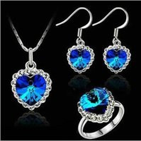 brand name jewelry - High Quality Brand Name Austrian Element Crystal Ocean Heart Pendant Love Alloy Necklace Earrings Ring Jewelry sets For Women