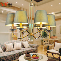 Wholesale Modern ceiling pendant lights antique Wrought iron bronze brass E14 LED cloth lampshade chandeliers living room bedroom hotel lamp
