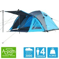 alpine tents - Autumn New Person double layer outdoor camping Blue Pink Alpine Season tents room hall marquee family tent