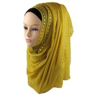 Wholesale New Design Solid Rivet Sequin Cotton Hijab Charming Muslim Scarf Gold Studs Long Shawls Small Quantity