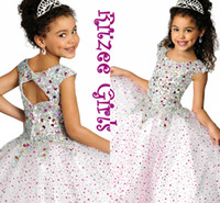 Wholesale 2015 Sparking White Pageant Dress cap Sleeves Crystal Kids Pageant Gowns Floor Length Ball Gown Ritzee Girls Pageant Dress
