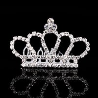 beauty plates - 10PCS Cute Beauty Princess Girl Crown Tiaras Crystal Sliver Plated Fine Hair Jewelry Birthday Party Accessories Hair Comb