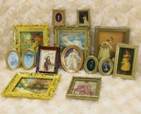 Wholesale Dollhouse Miniature Framed Wall Paintings Home Decor Room Items Doll House Scale Toy