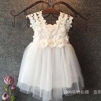 Wholesale Korean Clothing Crochet - Girl Lace Dress Crochet Flower Princess Dress 2015 Summer Dresses Korean Girl Dress Ruffle Tulle Dress Children Clothes Kids Clothing C7972