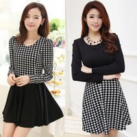 houndstooth dress - New Europe Women autumn winter Dress Houndstooth Pattern Crew Neck Long Sleeve ladies party dress Mini Dress G0750