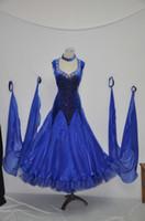Femmes Ballroom Dance Competition Robes Ladys Sparkle Bleu Royal Modern Tango Waltz Costumes Nouveau Style Standard Ballroom Dress