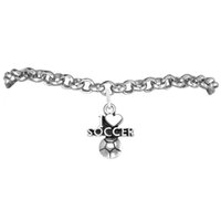 antique soccer balls - Alloy I Love Soccer Ball Charm Rolo Chain Bracelet A Link Chain Antique Silver Plated