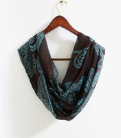 Ring aqua scarves - Aztec Paisley Infinity Scarf Dark Brown Scarf Brown Scarf with Aqua Blue Paisley Flower