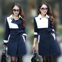 Wholesale Ms new autumn and winter coat of cultivate one s morality more blue and white overcoat of big yards