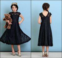 balck tea - BM Lovely Balck Lace Junior Bridesmaid Dresses New Cheap Capped Sleeve Jewel Tea Length A Line Formal Dresses Long Girl Party Dress