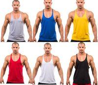 gym vests men - Fitness Men Blank Stringer Cotton Tank Top Singlet Bodybuilding Sport Undershirt Clothes Gym Vest Muscle Singlet
