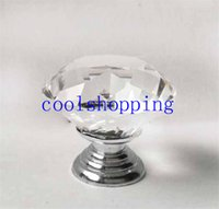Cheap 40mm Clear Diamond Shape Crystal Glass Pull Handle Cupboard Cabinet Drawer Door Furniture Knob