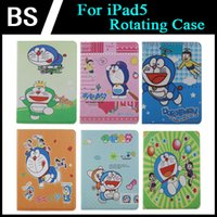 Wholesale New For ipad Cute Doraemon Cartoon PU PC Leather Case For iPad5 Rotating Stand Case