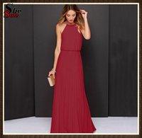 Cheap Halter Evening Dresses Fashion Best Sleeveless Pleated A line
