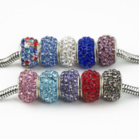 Wholesale Multicolor New Resin Rhinestone Beads Silver Plated Core Crystal Loose Beads Fit Braceles
