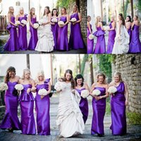 Wholesale Purple Thick Satin Mermaid Bridesmaid Dresses Sweeetheart Ruffles Pleated Floor Length Trumpet Party Gowns Formal bridesmaid Gown
