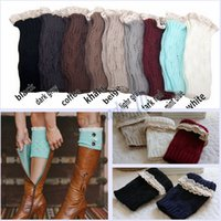women socks - 9 colors Women Crochet Down Boot Cuffs lace Braid Knit Leg Warmers Boot Socks Knee High Socks AAA1338 pair