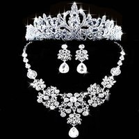 Wholesale Shining Rhinestones Crystal Bridal Jewelry Necklace Earrings Sets Wedding Jewelry Sets Cheap Bridal Crowns Necklace Earrings Accessories