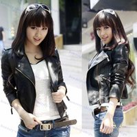 Wholesale Leather Jacket Women Jacket Coat Slim Biker Motorcycle Soft Zipper girl Leather Jaquetas De Couro feminina women s clothing