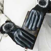 Wholesale 2014 Hot Sale Women Golves High Quality Lady s Leather Gloves Winter Warm Rabbit Fur Glove Luvas Mittens Skiing Glove TT002