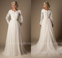 long sleeve wedding gowns - 2016 Informal Long A Line Lace Tulle Modest Temple Wedding Dresses Long Sleeves V Neck Sheer Sleeves Trains Buttons Back Bridal Gown MDWD1