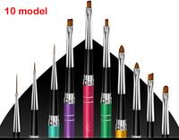 Wholesale 10 color Mink Hair Nail ART Brush PEN Tools Painting Doting PEN Phototherapy pen set Nail Tools Set