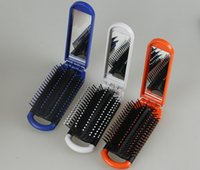 Wholesale 2015 New arrival Travel portable folding combs with mirror Massage Hairbrush best quality colors options DHL