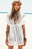 Wholesale Summer White Short Sleeve V Neck Cotton Beach Caftans Lace Crochet Tunic Beach Cover Ups Sexy Kaftan Bikini Swimsuit Cover Up Dress