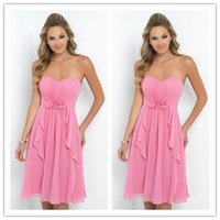 Reference Images A-Line Sweetheart 2015 short beach bridesmaid dresses under 50 cheap pink strapless chiffon knee length handmade maid of honor dresses formal party prom gowns