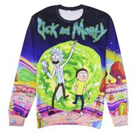 Wholesale In the new Rick and Morty Rick and Moti set printing head thin sweater female couples dress