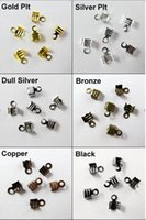 Cheap 300Pcs 4x9mm Fold Over End Cord Crimp Bead Caps For Leather Cord Jewelry Making Craft DIY AE00506