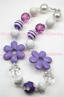 Wholesale Purple Sunflower Girls Chunky Girls Big Bead Girls Necklace Chunky Bubblegum Necklace for kids CB235