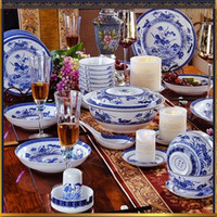 antique dinnerware set - Traditional Chinese Style Porcelain Dinnerware Sets Upscale Tableware Sets of Antique Style Blue and White Bone China