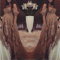 aline prom dress - Hot Hi Lo Pregnant woman Evening Dresse ALine Off Shoulder Applique Beads Myriam Fares Celebrity Prom Gowns maternity dress