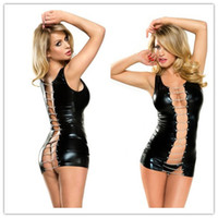 women leather sexy lingerie - 2015 New Leather Lingerie Sexy Underwear For Women Erotic Veronique Chain Wetlook Vinyl Dress Set L6532