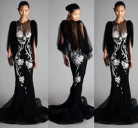 bat wings pictures - Sheer Neck Black Mermaid Evening Gowns Long Bat wing Sleeves White Embroidery Daisy Dresses Evening Wear Skirt Train Formal Dresses Evening