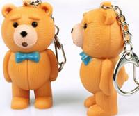animal sounds audio - 3d LED Plastic Teddy Bear Keychains with Sound Light Keyrings Key ring luminous cartoon Audio voice Emit Light glowing flashlight
