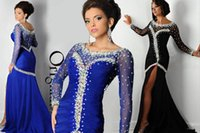 occasion dresses - Gorgeous Prom Dresses Sheer Jewel Crystals High Split Long Sleeves Prom Evening Formal Occasion Dress
