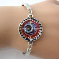 astrological zodiac - ASTRONOMICAL STEAMPUNK CLOCK Pendant Burgundy Blue Gold Zodiac Clock Astrological Clock Astronomy Pendant bangles bracelet