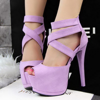 Wholesale Brand New Korean European sexy lady s open toe platform pumps cm Stiletto women thin heel party shoes High Heels color