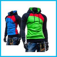 Wholesale 2016 NEW Leisure Men s Hoodies Patchwork Colors Napping Fashion Men s Tracksuits Sweatshirts Hooded Men Coats colors size M XXXL