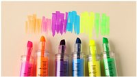 Wholesale 6 syringe kawaii Highlighter pen Fluorescent Marker pen Luminescent pen Stationery Office School supplies