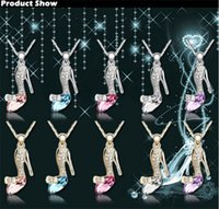 Wholesale 2015 Newest Crystal Cinderella Shoes Necklace Glass Slipper Princess Pendant Jewelry Charms colors