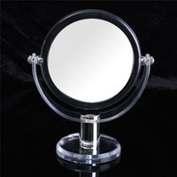 Wholesale 1Pcs Clear Acrylic And Glass Double Side cm Makeup Mirror Styling Tools Cosmetic Beauty Tool High Quality