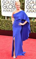 Wholesale 2015 nd Golden Globe Adwards Nancy O Dell Mermaid Celebrity Dresses One Shoulder Chiffon Side Slit Floor Length Backless Evening Gowns
