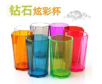 plastic cup beer - Diamond colorful transparent plastic cup colorful thickening lovers cup wash cup belt more color