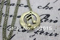 antique music supply - 10pcs fashion jewelry hot sell Supply the music note locket necklace music symbol pendant with chain antique jewelry steampunk gift