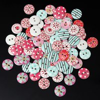 Wholesale Lowest price mm Circular Button Random Mix Wooden Painting Buttons Craft Scrapbook Sewing Accessories Cardmaking Beauty