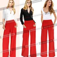 Cheap 2014 Women Summer Chiffon Palazzo High Waist Flare Pant Career Casual Business Wide Leg Trousers Loose Pants 643